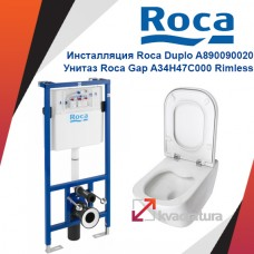 Инсталляция Roca Duplo A890090020 с унитазом Roca Gap A34H47C000 Rimless