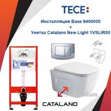 Инсталляция Tece Base 9400005 с унитазом Catalano New Light 1VSLIR00